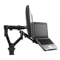 Atdec Systema SNCS10B Monitor/Notebook Mounting Kit - 2x Dynamic Spring Assisted Mount Arms, 1x Notebook Tray Attachment with 400mm Modular Desk Post