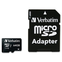 Verbatim 64GB Micro SDXC Card Class 10 UHS-I With Adaptor Up to 45MB/Sec 300X read speed(LS)