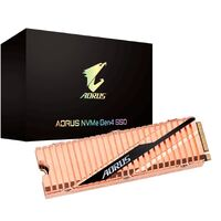 Gigabyte AORUS M.2 PCIe NVMe Gen4 SSD 2TB - 5000/4400 MB/s 750K/700K IOPS 3D NAND TLC 1.77 Mil MTBF 5yrs Wty TRIM SMART Wear Leveling Over Provision